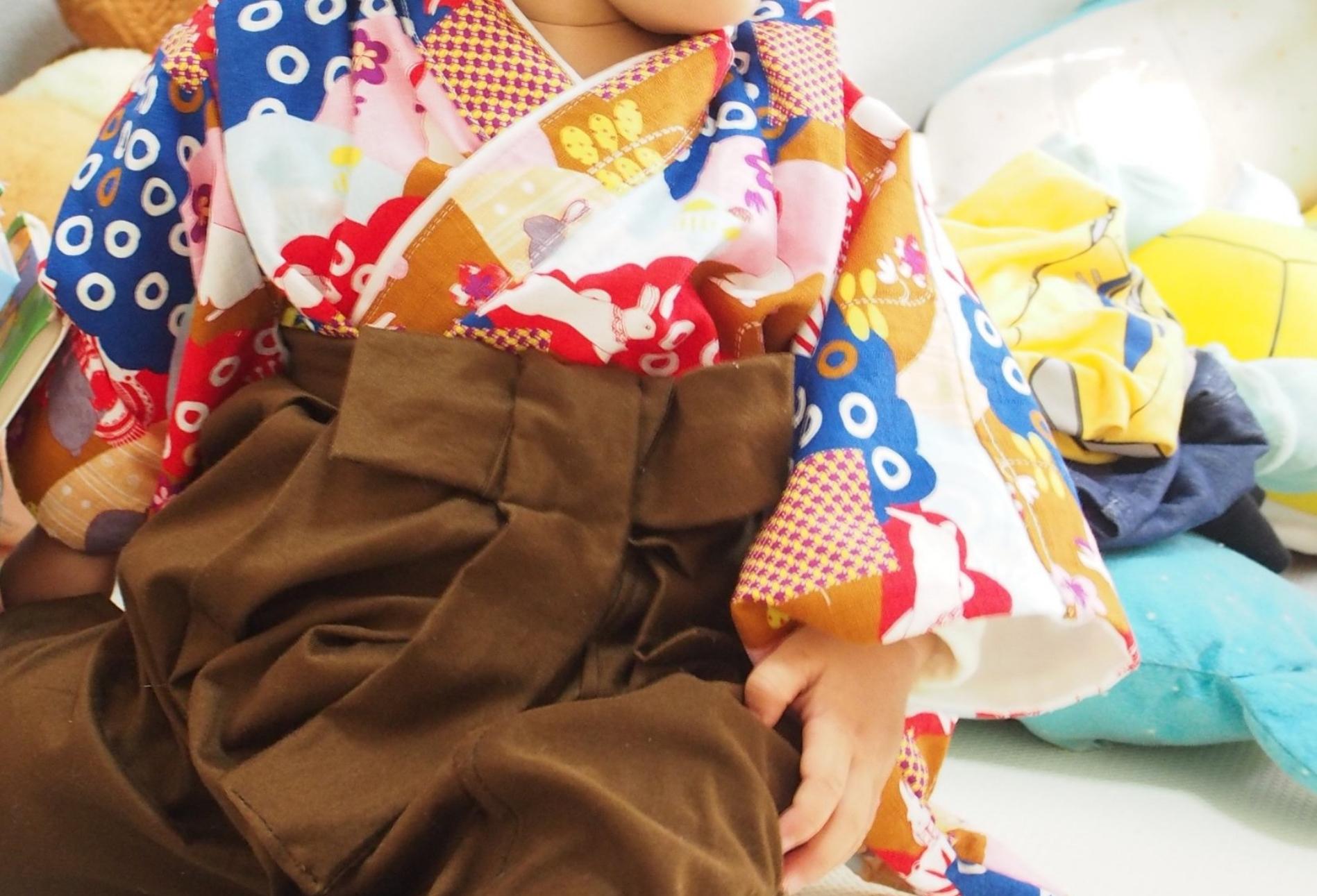 無料型紙と写真解説でベビー・キッズ袴(80-90cm)の作り方 お誕生日やお正月・節句のお祝いにオススメ!