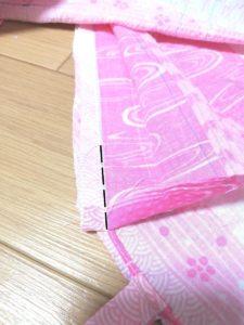 衿を最後まで縫った写真