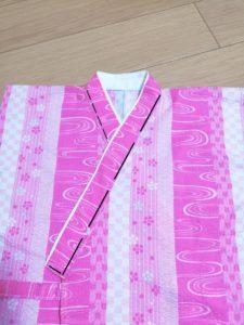 衿の端を縫った写真