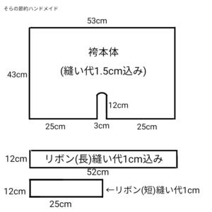 袴の型紙の図