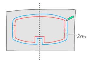 型を左右対称にするイラスト
