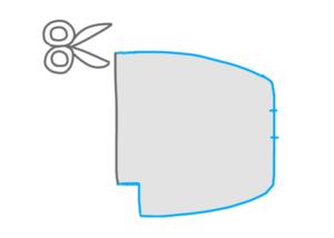 型を左右対称にして切り取るイラスト