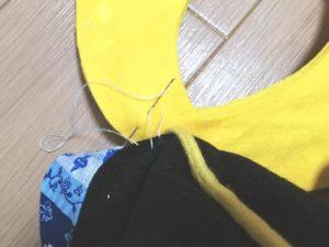 鍬形を付ける写真